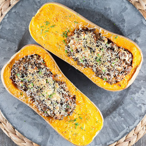 Roasted Butternut Squash Filled With Lentils And Feta