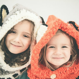 Wolf and Fox girls by Jenny Hammer - Babies & Children Child Portraits ( girls, sisters, fox, wolf, siblings, cute )