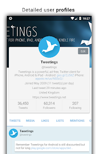 Tweetings for Twitter Screenshot