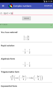Complex numbers calculator - screenshot