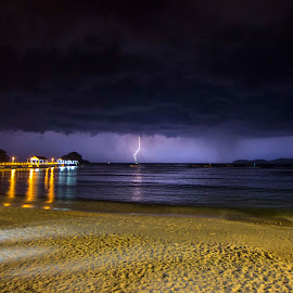 Positive Lightning  by Eddy  Garcia - Landscapes Weather ( lightning, thunderstorm, salangtioman, weather, halilintar )