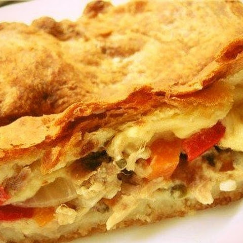 Puff Pie With Meat And Potatoes