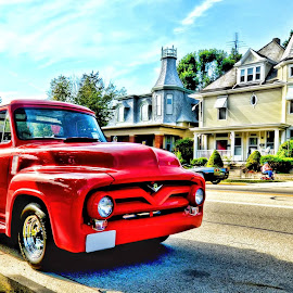 Small town car show by Brenda Reed Buehler - Transportation Automobiles ( houses, red, truck, carshow, transportation, historical, town )