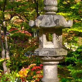 Spring Lantern Watercolor by Briand Sanderson - Digital Art Things ( lantern, washington state, japanese garden, japanese lantern, digital art, seattle japanese garden, spring, united states )