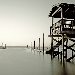 Watchtower of Serenity by Chris Mare - Landscapes Travel ( pwcbwlanscape, harbor, watchtower of serenity, bay, black and white, bays, bw, pier, landscape, dock )