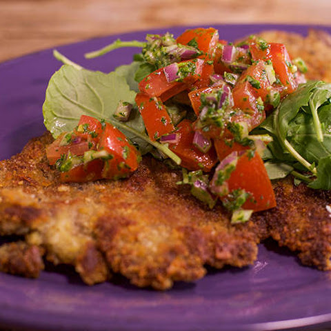 Beef Milanese with Tomato, Basil and Bitter Greens Raw Sauce