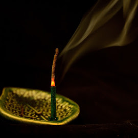 Smoking sandalwood by Kim White - Abstract Fire & Fireworks ( abstract, smell, calm, smoke cloud, aroma, incense, incense stick, relaxing, smoke, smoking, serene, perfume, scented, fume )