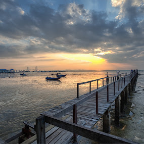 by P Hin Cheah - Landscapes Sunsets & Sunrises ( teluk tempoyak, penang, sea, sunrise, jetty )