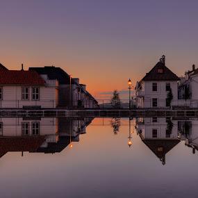 Skansen by Rune Askeland - City,  Street & Park  Neighborhoods ( bergen, reflections, norge, evening, skansen, norway )