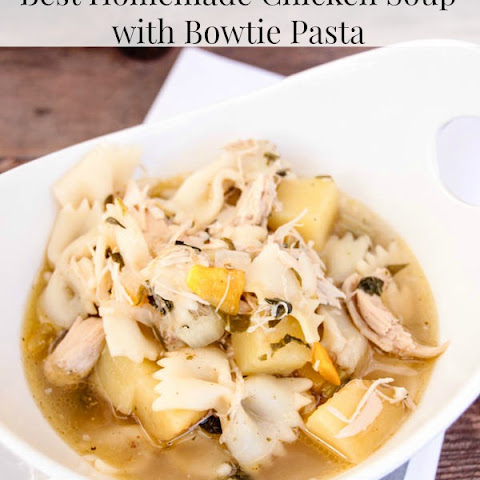 Best Homemade Chicken Soup with Bowtie Pasta