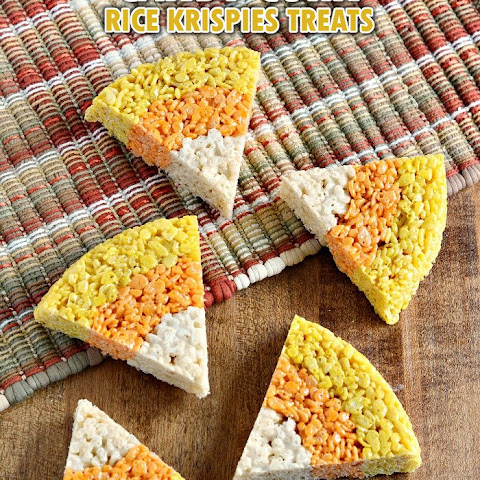 Candy Corn Colored Rice Krispies Treats for Halloween
