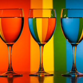 Glasses in front of colored paper by Carl Albro - Artistic Objects Glass ( artistic objects, glasses, water, colors )