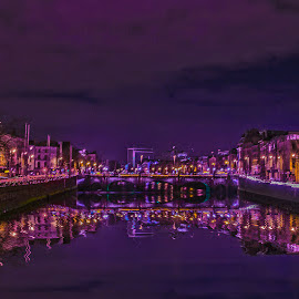 Reflections  by Antonio Simoes - City,  Street & Park  Night ( urban, night photography, dublin, liffey, river )