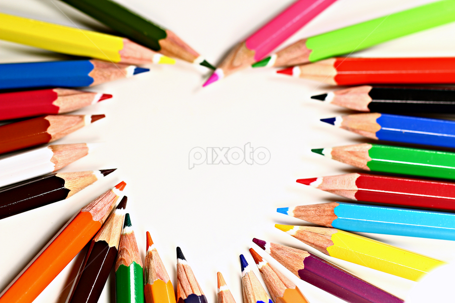 Heart of pencils. by Dipali S - Products & Objects Education Objects ( draw, heart, color, white background, kids, business, pencils )