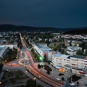 Onesti by Eduard Moise - City,  Street & Park  Skylines ( boulevard, cars, blue hour, night, trails )