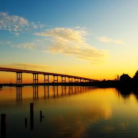 Pungo Ferry Bridge by Mary Kaye Zugelder - Buildings & Architecture Bridges & Suspended Structures ( memorial weekend, sunset, north landing river, virginia beach, waterway,  )