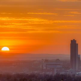 Calm by Brandon Moffitt - City,  Street & Park  Skylines ( lee nd grad, albany, sunset, albany skyline, sun )