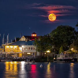 Full Moon by Carol Ward - City,  Street & Park  Vistas ( annapolis, moon rise, waterscape, chesapeake bay, full moon, annapolis city dock )