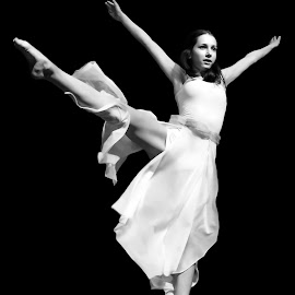 Excellence in Motion by Mladen Bozickovic - People Musicians & Entertainers ( dancing, monochrome, girl, female, dress, legs, high, dance, black, dancer, jump )