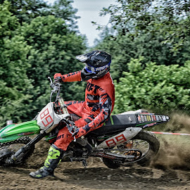 by Marco Bertamé - Sports & Fitness Motorsports ( curve, motocross, speed, green, dust, number, re, accelerating, climps, 89, noise, rtace )