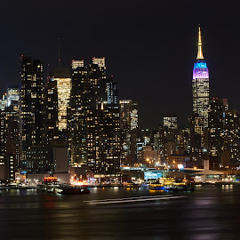 NYC  by Vitor Azinheira - City,  Street & Park  Night ( night photography, buildings, cityscape, city, nightscape,  )