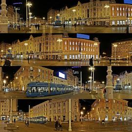 Ufotkala sam na povratku sa koncerta nekoliko panorama noćnog Trga bana Jelačića - srećom, nije bilo čadoja ... by Anica Mazura - City,  Street & Park  Night
