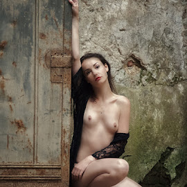girl with door by Judith Aebersold - Nudes & Boudoir Artistic Nude ( available light, model, nude, location, woman )