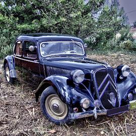 Old Times by Ana Paula Filipe - Transportation Automobiles ( car, old, citroen, black )