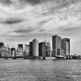 Moody Manhattan by Fitz C - City,  Street & Park  Skylines ( wide angel, white, cloudy, manhattan, overcast, nyc, new york, black, city )
