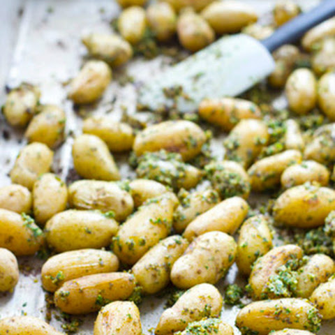 Roasted Potato And Green Bean Salad With Almond-Chive Pesto Recipe ...