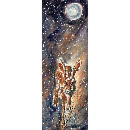 Animal wildlife art painting moon hare original watercolor