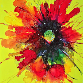 Abstract Flower by Janet Vertin - Painting All Painting ( flower painting, flower art, abstract artwork, abstract flower painting, original art, flower artwork, alcohol ink painting )
