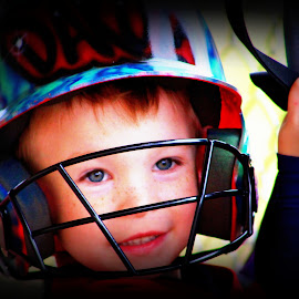 At Bat by Pamm Smith - Babies & Children Toddlers ( baseball, boys, grandkids, up to bat, toddler )