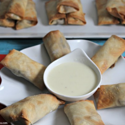Philly Cheesesteak Egg Rolls With Zesty Provolone Cheese Dip