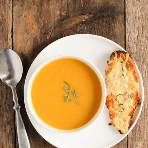Butternut Squash Soup with Sage and Gruyere Toast