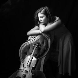 Reflection by April Sadler - Black & White Portraits & People ( #girl #blackandwhite #lighting #violin #studio,  )