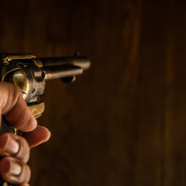 Pointing a cavalry six shooter by Florin Marksteiner - Artistic Objects Antiques ( guns, civil war, six shooter, old west, revolver, wild west, cavalry )