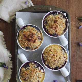 Blueberry, Coconut, & Brown Rice Breakfast Pudding with Almond Crisp
