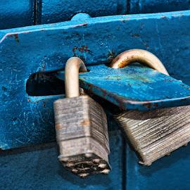 Double Lock by Ray Ebersole - Artistic Objects Industrial Objects ( blue, locks, lock )