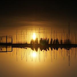 Mythical Sunset by Nicholas Khoo - Landscapes Sunsets & Sunrises ( reflection, silhouette, stilts, ripples, waves, sunset, boats )