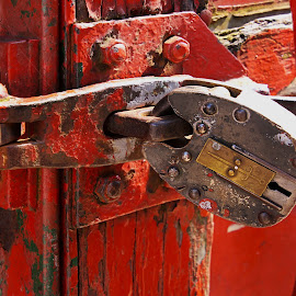padlock by Dean Moriarty - Artistic Objects Industrial Objects ( red, shut, railways, train, locked, padlock )