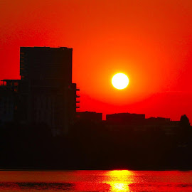 by Mihai Nita - City,  Street & Park  Vistas ( water, skyline, sunset, red light, water mirror, red sun,  )
