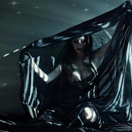 by B Lynn - Nudes & Boudoir Artistic Nude ( lighting., blue, hues., blues., beams. )
