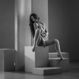 Geometry by Dmitry Laudin - Nudes & Boudoir Artistic Nude ( studio, figure, nude, girl, light, geometry )