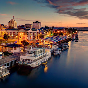 Valdivia by Charles Brooks - City,  Street & Park  Skylines ( clouds, valdivia, market, night, long exposure, cityscape, boat, dusk, los rios, city )