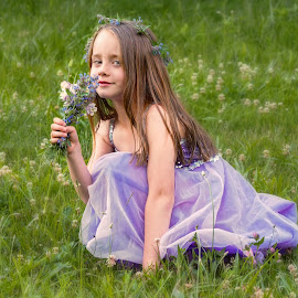 Sylvie with Bouquet by Becky Kempf - Babies & Children Child Portraits