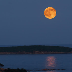 The big red moon by Alessandra Antonini - Uncategorized All Uncategorized ( moon, blue, sea, night, seascape, island )