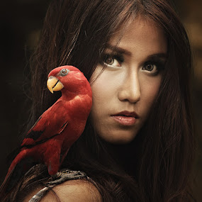 Bird Lady by Lucky E. Santoso - People Portraits of Women ( women, lady, red )