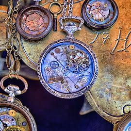 Time Is Not Important ! by Marco Bertamé - Artistic Objects Still Life ( pocket, time, chain, $$round, watch, silver, pointer, circle, yellow, golden )