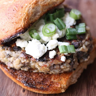 Cremini burgers with goat cheese and fig aioli (adapted from Atwood Cafe's recipe)